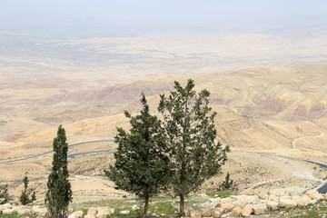 desert mountain landscape (aerial view), Jordan
