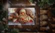 Santa Claus preparing Christmas gifts