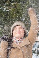 Woman having fun winter