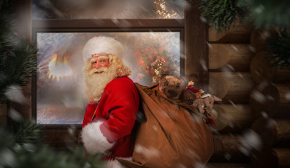 Santa Claus carrying his sack outdoor