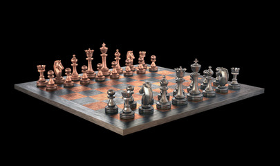 Chessboard with clipping path.