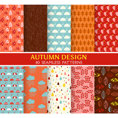 10 Seamless Patterns - Autumn Set - Texture for wallpaper
