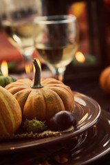 Restaurant autumn place setting