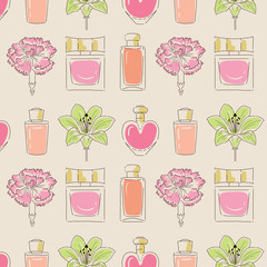 Woman perfume bottles seamless pattern