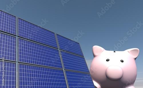 canvas print picture Besparen met zonne energie