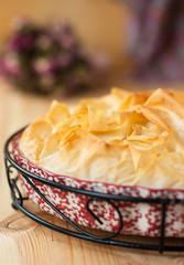 filo pie with fish and spinach