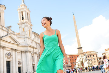 Woman in green dress in Rome, Italy