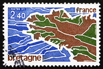 Postage stamp France 1977 Map of Brittany