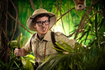 Aggressive adventurer exploring jungle
