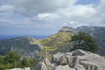Tramuntana mountains over the Mediterranean.Majorca, Spain.