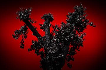 Scary black tree on a red background