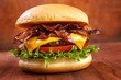 Leinwanddruck Bild - Bacon burger with beef patty on red wooden table