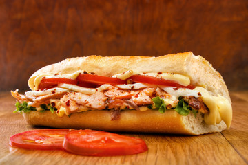 Smoked salmon submarine sandwich