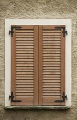 Window Wood Shutters of Home wood closed