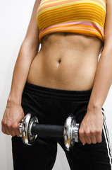 Abs workout girl holding weight