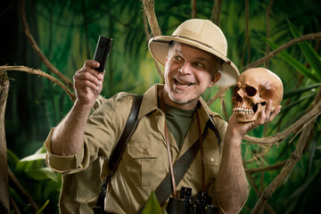 Selfie in the jungle with skull