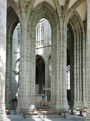 column in hall of church-abbey Mont Saint Michel