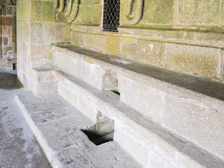 stone seats in abbey Mont Saint Michel