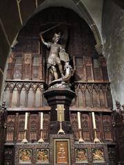 St Michael statue in abbey Mont Saint Michel