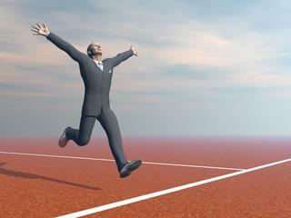 Businessman is winner - 3D render