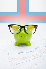 Piggy bank with flag on background - Faroe Islands