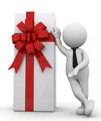 omino bianco appoggiato a un regalo