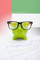 Piggy bank with flag on background - United Arab Emirates