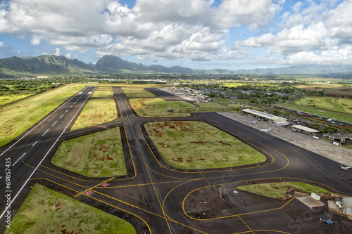 Spoed canvasdoek 2cm dik Luchtfoto hawaii small airport