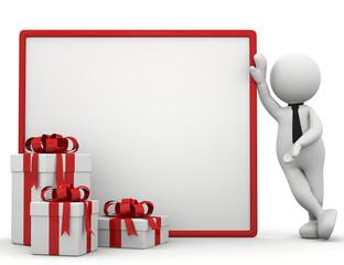 ominobianco con cartello e regali