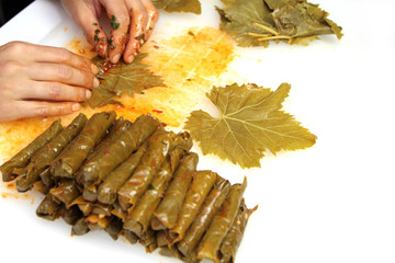 Turkish cuisine. Sarma - Rice wrapped in grape vine leaves