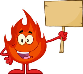 Flame Cartoon Mascot Character Holding A Wooden Board