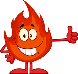 Smiling Flame Cartoon Mascot Character Giving A Thumb Up