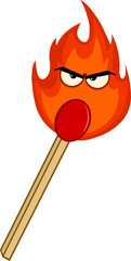Burning Match Stick With Evil Flame Cartoon Character