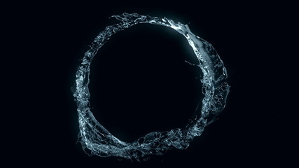 Water circle looping on black (loop, alpha, cg, slow motion)