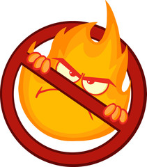 Stop Fire Sign With Angry Burning Flame Cartoon Mascot Character