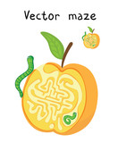 Vector Maze, Labyrinth with Apple and Worms.