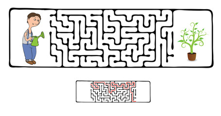 Vector Maze, Labyrinth with Gardener and Plant.