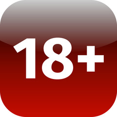 Restriction on age 18+ - red and white icon
