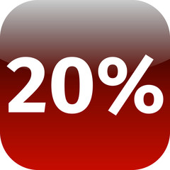 20 percent icon or button in red