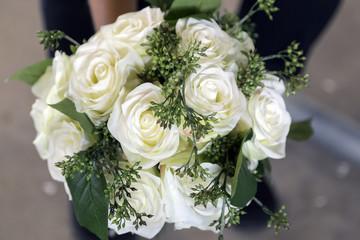 Pretty White Rose Wedding Bouquet