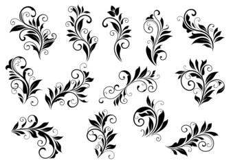Retro floral motifs and foliate vignettes set