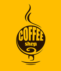 Hot steaming coffee banner