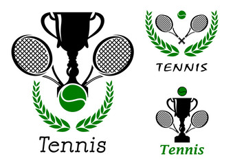 Tennis sporting emblems set