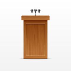 Wood Podium Tribune Rostrum Stand with Microphones