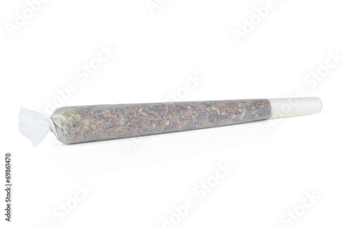 Marijuana joint from Amsterdam isolated on white - 69861470