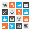 Silhouette Hotel and motel icons