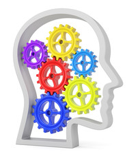 Human head profile with colorful cogwheels