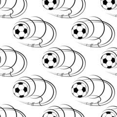 Seamless pattern of footballs or soccer balls