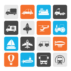Silhouette Different kind of transportation icons