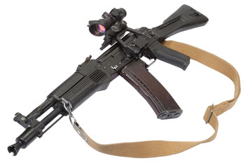 modern kalashnikov rifle on white